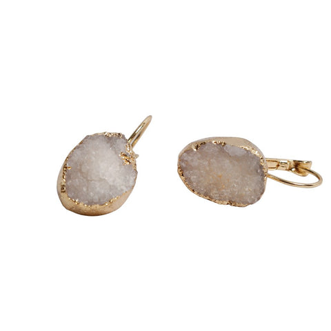 Gold & White Natural Crystal earrings