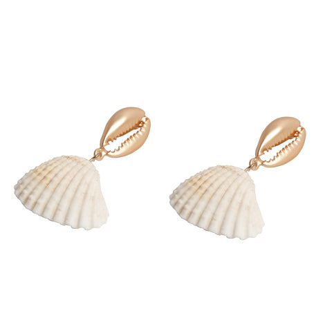 Gold & Shell Drop Earrings