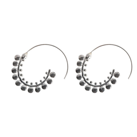 Circular Slide Silver Earrings