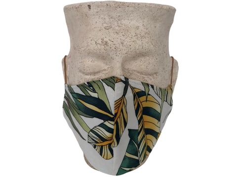 Leaf Print & Mustard Linen Reversible Bellibutton Mask - Adults