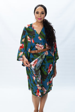 Green & Coral Flower Print with Blue background- Mid-length Kimono