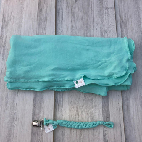 Monkey Strudel - Aqua Swaddle Set