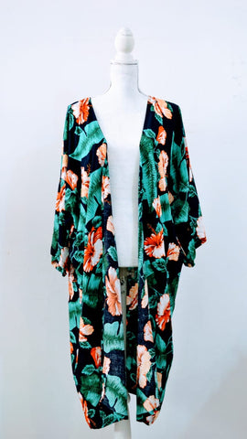 Green & Coral Leaf & Flower Print - Mid-length Kimono