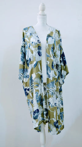 Shades of Blue with Olive Green Background- Mid-length Kimono- Mid-length Kimono