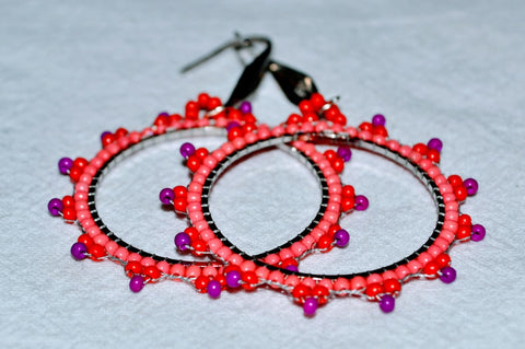 Hand Beaded Earrings - Coral Loops