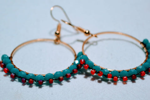 Hand Beaded Earrings - Turquoise & Red Loops