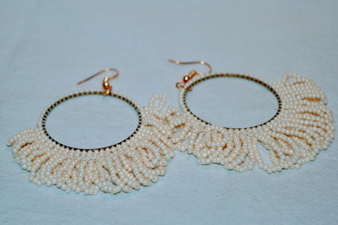 Hand Beaded Earrings - Cream Hoops