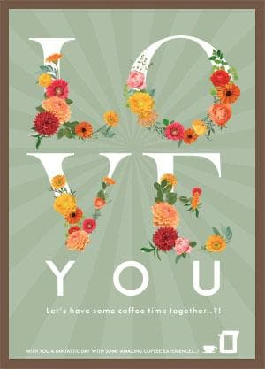 Coffee Card flowers #4. 2 Brewers (4 cups)