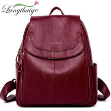 Load image into Gallery viewer, LANYIBAIGE Women Leather Backpacks Female Shoulder Bag Ladies Bagpack Vintage School Bags For Girls Travel Back Pack Sac A Dos