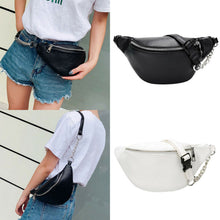 Load image into Gallery viewer, 2019 Womens Waist Bag Fanny Pack Solid PU Bag Belt Purse Chains Female Fashion Zipper Small Purse Phone Key Pouch Chest Bag