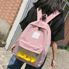 Load image into Gallery viewer, Casual Clear Waterproof Womens Backpack Harajuku Nylon Travel Schoolbags Cute Small Duck Student Back Pack Teen Girls Bookbags