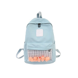 Casual Clear Waterproof Womens Backpack Harajuku Nylon Travel Schoolbags Cute Small Duck Student Back Pack Teen Girls Bookbags