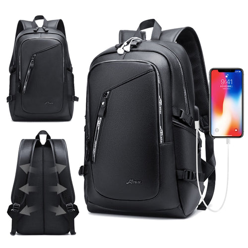Large Men's Leather Backpack PU 15.6 Laptop Bagpack Waterproof Travel Business Backpacks For School Bags USB Charger Back Pack