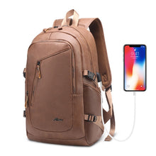 Load image into Gallery viewer, Large Men's Leather Backpack PU 15.6 Laptop Bagpack Waterproof Travel Business Backpacks For School Bags USB Charger Back Pack