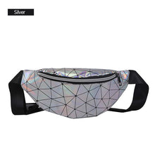 Load image into Gallery viewer, AIREEBAY Holographic Waist Bags Women Pink Silver Fanny Pack Female Belt Bag Black Geometric Waist Packs Laser Chest Phone Pouch