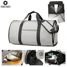 Load image into Gallery viewer, OZUKO Large Capacity Men Travel Bag Multifunction Suit Storage Hand Luggage Bags for Trip Waterproof Duffle Bag with Shoe Pocket