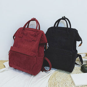 Corduroy Backpacks For Women 2019 Mochila Fashion Winter Casual Style Ladies Solid Color Back Pack For Teen Girls Dropshipping