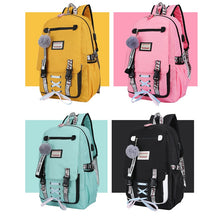 Load image into Gallery viewer, Pink Canvas Backpack Women School Bags for Teenage Girls Preppy Style Large Capacity USB Back Pack Rucksack Youth Bagpack 2019