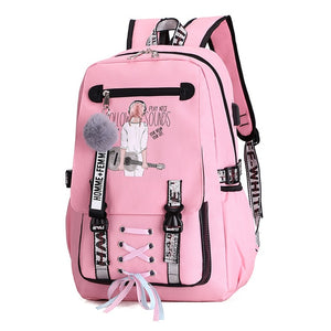 Pink Canvas Backpack Women School Bags for Teenage Girls Preppy Style Large Capacity USB Back Pack Rucksack Youth Bagpack 2019