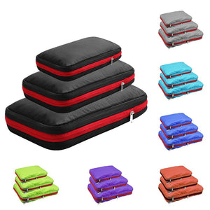 Double Layer Compression Packing Cubes Travel Luggage Organizer Waterproof Packing Cube 7 Colors Large Medium and Small 3 Sets