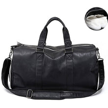 Load image into Gallery viewer, Male Leather Travel Bag Large Duffle Independent Shoes Storage Big Fitness Bags Handbag Bag Luggage Shoulder Bag Black XA237WC