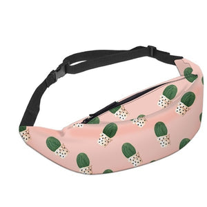 Deanfun 3D Printed Waist bags Green leaves Fanny Pack with Zipper for Women Travelling YB7