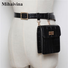Load image into Gallery viewer, Mihaivina Vintage Leather Waist Bag Alligator Fanny Pack For Women Waist Pack Luxury Belt Bag Designer/Black Fanny Pack Bags