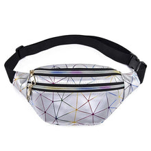 Load image into Gallery viewer, Waist Bags Women Pink Silver Fanny Pack female banana Belt Bag Wallet Bag Leg Holographic Waist Packs Laser Chest Phone Pouch