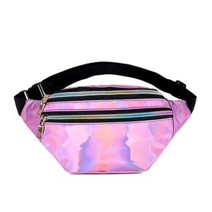 Waist Bags Women Pink Silver Fanny Pack female banana Belt Bag Wallet Bag Leg Holographic Waist Packs Laser Chest Phone Pouch