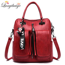 Load image into Gallery viewer, 3-in-1 Women Backpacks Vintage Female Shoulder Bags Soft Leather Backpack Ladies Travel Back Pack Luxury Bags for Girls Mochila