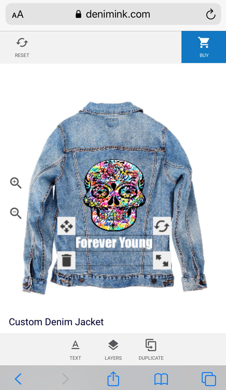 Custom jean jacket online denim ink add text and resize