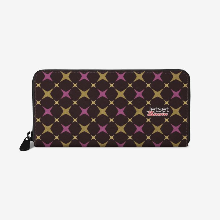 Jetset Licorice leather zipper wallet (purple-dark brown) - Resort Pop