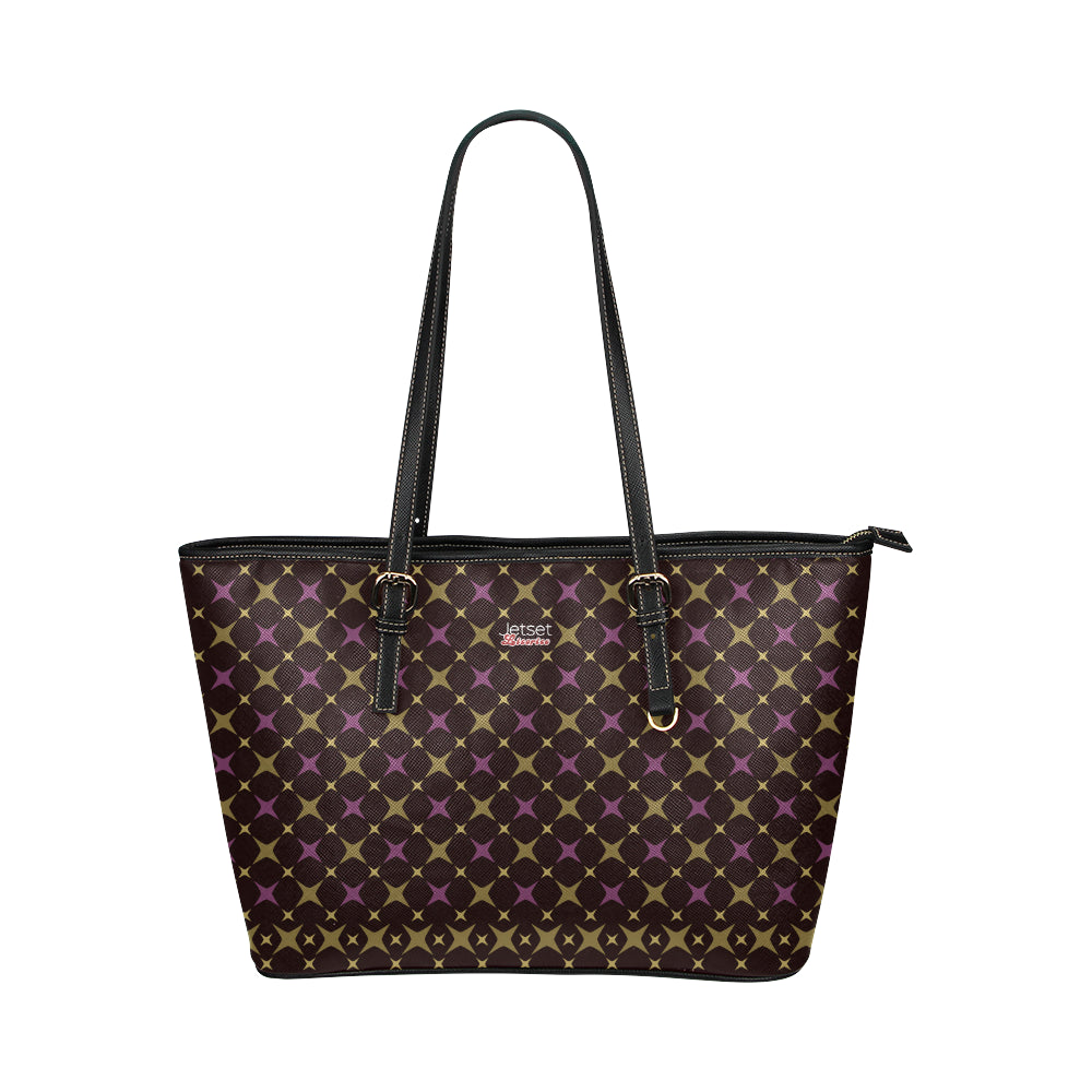 Jetset Licorice Designer Collection leather tote bag - small (purple-dark brown) - Resort Pop