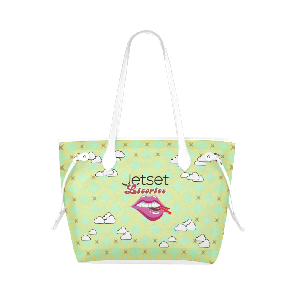 Jetset Licorice JuicySweet Collection canvas tote bag (limegreen/white) - Resort Pop