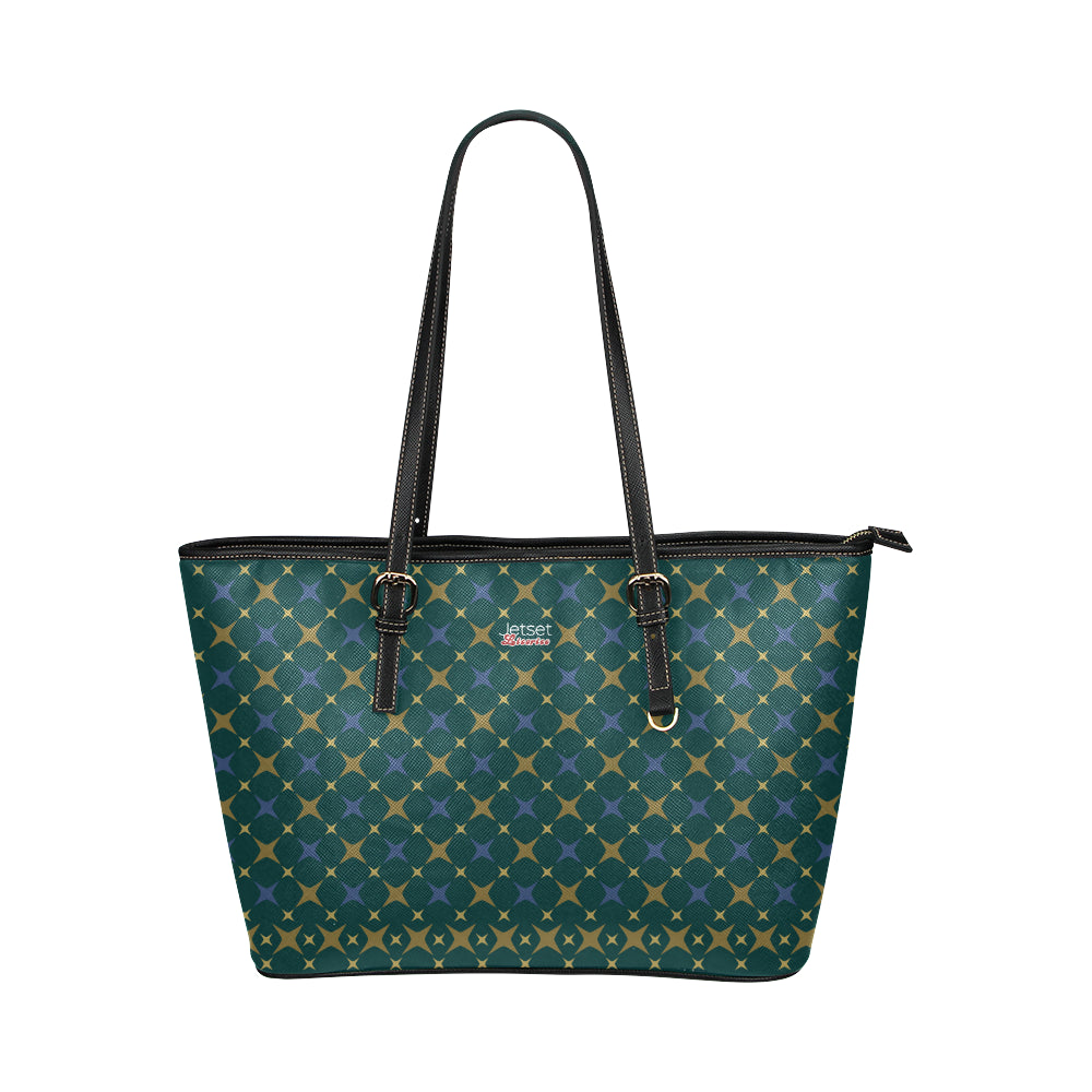 Jetset Licorice Designer Collection leather tote bag - small (blue-emerald) - Resort Pop