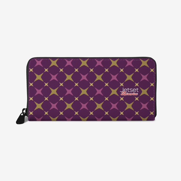Jetset Licorice leather zipper wallet (purple-purple) - Resort Pop