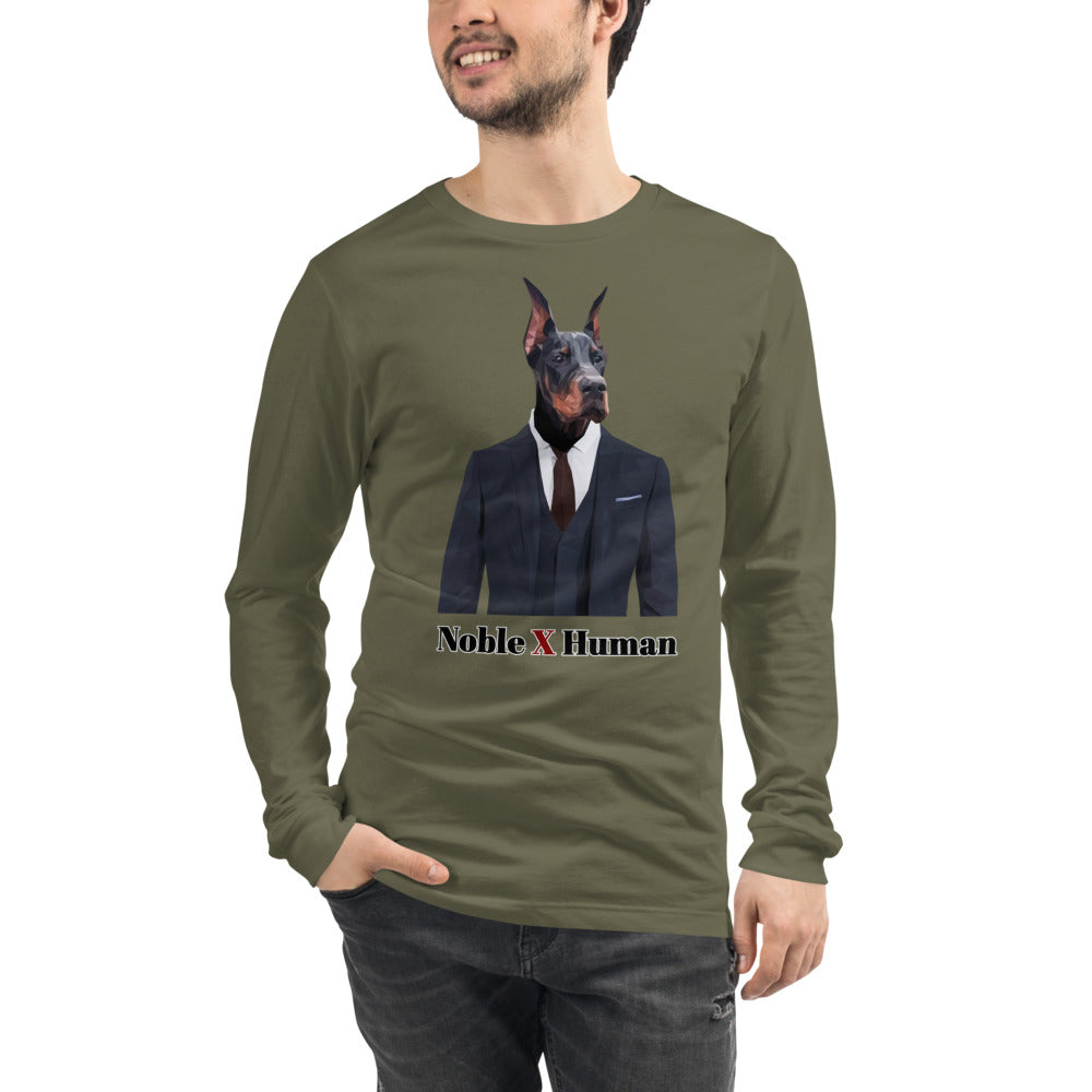Doberman Nobility unisex long sleeve tee | Noble X Human - Resort Pop