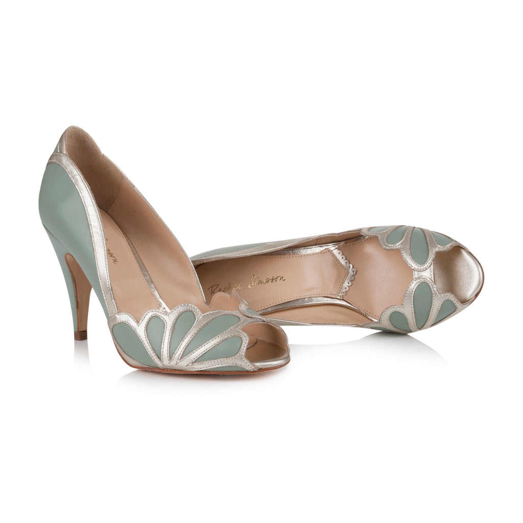 ISABELLE - Brautschuh-High-Heel in Mint mit floralen Applikationen in Gold