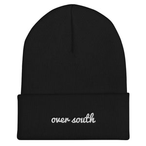 Over South Text Logo (White Text) Embroidered Cuffed Beanie