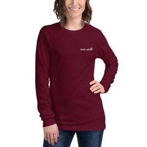 Embroidered Over South Text Logo (White Text) Unisex Long Sleeve Tee