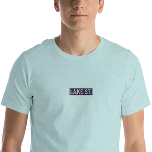 Embroidered Lake St Logo (Navy) Short-Sleeve Unisex T-Shirt (Centered Logo)