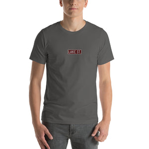 Embroidered Lake St (Sexy Red) - Short-Sleeve Unisex T-Shirt (Centered Logo)