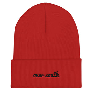 Over South Text Logo (Black Text) - Embroidered Cuffed Beanie