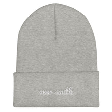 Load image into Gallery viewer, Over South Text Logo (White Text) Embroidered Cuffed Beanie
