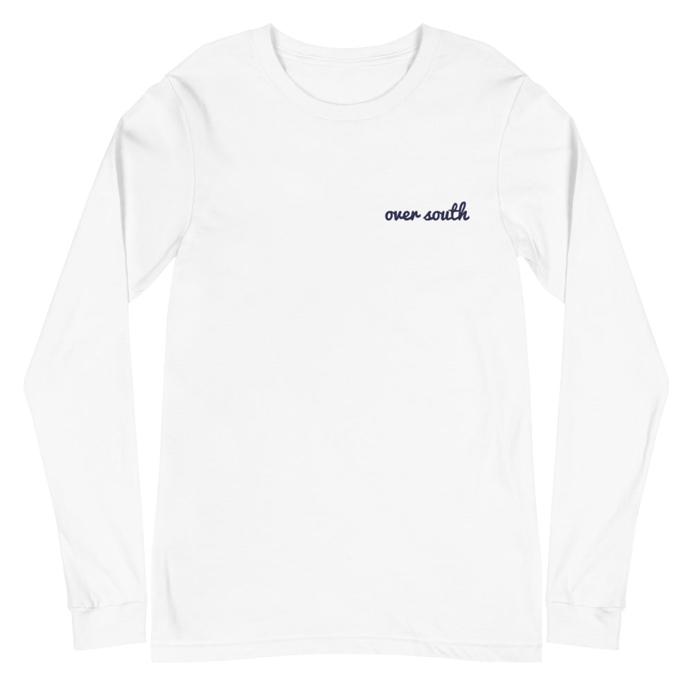 Embroidered Over South Text Logo (Navy Text) - Unisex Long Sleeve Tee