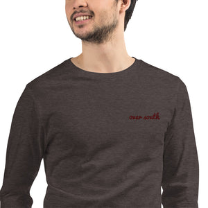 Embroidered Over South Text Logo (Sexy Red Text) - Unisex Long Sleeve Tee