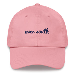 Over South Text Logo (Navy Text) Embroidered Dad Hat