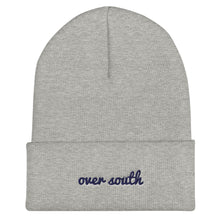 Load image into Gallery viewer, Over South Text Logo (Navy Text) Cuffed Beanie
