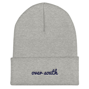Over South Text Logo (Navy Text) Cuffed Beanie