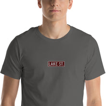 Load image into Gallery viewer, Embroidered Lake St (Sexy Red) - Short-Sleeve Unisex T-Shirt (Centered Logo)